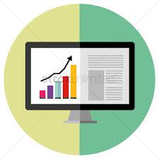 Chart Showing Increase Monitor Showing Increase Graph Chart Vector Image 1303887