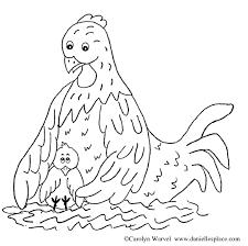 Small Picture Mother Hen and Chick Coloring Page