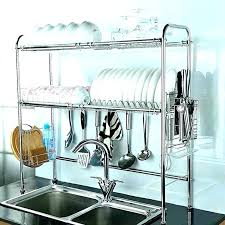 decoration kitchen drying rack racks 2 tier dish double slot stainless steel wooden towel