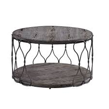 Malley Industrial Round Metal And Solid Wood Coffee Table