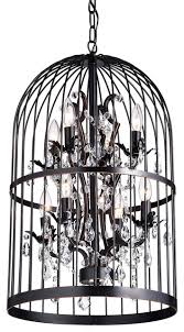 carlo oil rubbed 8 light bird cage crystal chandelier