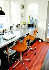 creative ideas home office. orange rug and swivel chairs for creative ideas home office with stylish desk