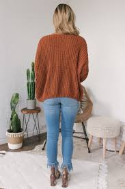 V Neck Chenille Sweater Rust Final Sale