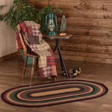 lodge rustic black red green wyatt braided jute rug oval area rugs
