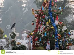 Cemetery Christmas Tree With Lights Christmas Tree In Cemetery Editorial Image Image Of