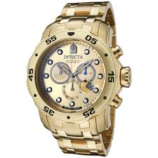 invicta watches shop amazon uk invicta men s quartz watch gold dial chronograph display and gold plated bracelet 0074