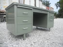 office metal desk. Desk With Gold Accent Unique Vintage Office FREE SHIPPING Metallic Green Metal Tanker I