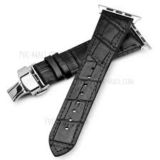 top layer cowhide leather erfly clasp watch band strap for apple watch series 4 44mm