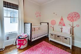 round pink rugs for nursery contemporary nursery and bedroom bench seat chevron crib dark stained wood
