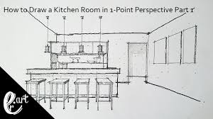 kitchen 1 point perspective. part 1 how to draw a kitchen room in 1point perspective point