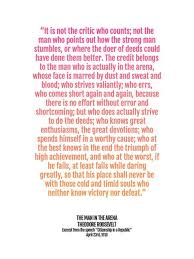 15530388 Graduation Gift Print Man In The Arena Quote Poster Teddy