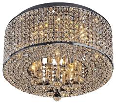 living room 7 light round chrome crystal flush mount chandelier pendant glass bubble globes pull chain