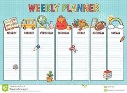 School Weekly Planner Stock Vector Illustration Of Kids
