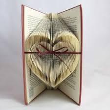 folded book art heart center indented