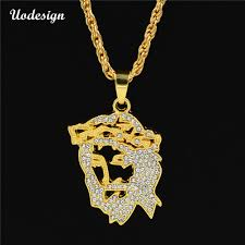 Face Pendant Design Us 2 57 48 Off Uodesign New Hip Hop Gold Color Masked Jesus Face Pendant Necklace Crystal Jesus Piece Jewelry In Pendant Necklaces From Jewelry