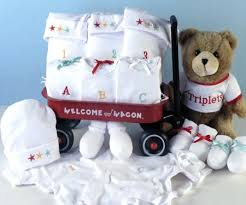 triplets wele wagon baby gift with layette items plush bear