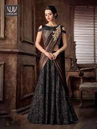 Buy Black And Brown Saree, Lehenga Saree - VJV Fashions