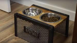 diy industrial raised dog bowl holder reclaimed pallet wood