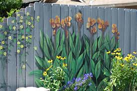 Painted Fence with Small Flower Mural