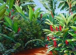 hawaiian landscape painting red garden hawaiian torch ginger by karen whitworth