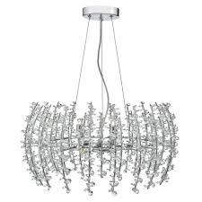 sestina 6 light ceiling pendant polished chrome complete with crystal beads polished chrome