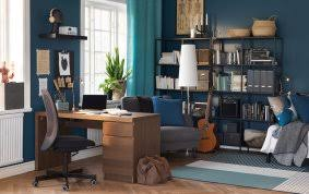 ikea office solutions. Ikea Office Supplies A Wooden Desk With Drawers In An Office/study Blue Walls. Solutions