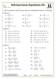 ks3 ks4 maths worksheets printable with answers solving equations ...