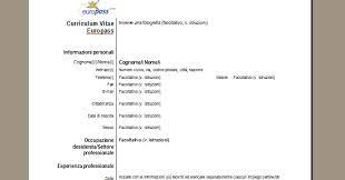 Template for a curriculum vitae getpicks co. Curriculum Vitae Europass Scarica Il Cv