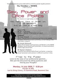 the thinkbox by aware presents sex power and office politics our partner the association of women for action and research aware is organising a public forum on sexual harassment in the workplace and member