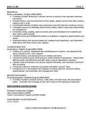 Resume Samples For Waitress Restaurant Waiter Resume Waitress Resume