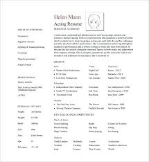 Actors Resume Template Word Acting Resume Free Musical Theatre