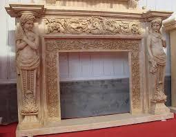 cherubim stone carved fireplace
