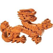 Wood asian dragon puzzle