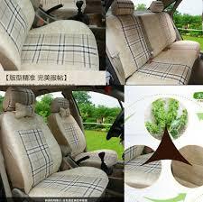 Polyester <b>Flax</b> Fabrics rural style 5 seat <b>car Seat Cushion</b> Mat with ...