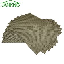 Us 1628 40 Offaliexpresscom Buy Jankng 6 Piece Kitchen Table Mat Woven Vinyl Table Placemats Set Gold Dinner Decorative Washable Heat Resistant