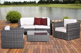 modern outdoor patio furniture.  Modern Metz 5 Pc Grey Wicker Seating Set With OffWhite Cushions And Modern Outdoor Patio Furniture M