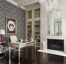 white airy home office. view in gallery venetianstyle mirror marble fireplace and classy chandelier for the home office design white airy g