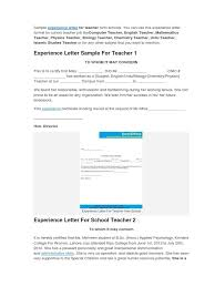Teaching Experience Certificate Examples Allowed See Sample Format