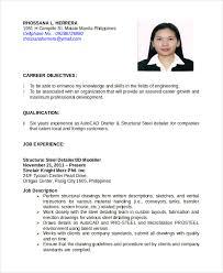 Resume Sample Format Pdf Philippines Milviamaglione Com