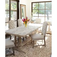 elo distressed dining table in white wash