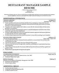 resume for assistant restaurant manager
