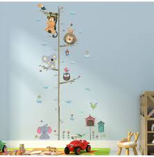 Wall Decal Size Chart Jungle Animals Height Measure Wall Sticker Lion Monkey Owl Flower Wall Decals For Kids Rooms Growth Chart Nursery Room Decor Boy Wall Decals Boys Wall