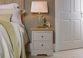 Chapter Bedside Table In Stone With An Oak Top