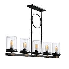 shade pendant lighting. Dennis Retro Kitchen Linear Island Pendant Lighting, Clear Glass Shade, Black Finish Shade Lighting