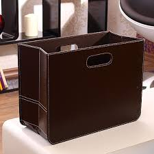 Faux Leather Magazine Holder DESIGN NEWSPAPER BOX NEWS brown fake leather magazine rack 9
