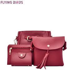 18cm 16cm 3cm pu flying birds women leather handbags famous brand composite bag 4pcs