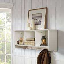 home source coat hook wall mounted unit white 3 open shelves hooks with storage 10
