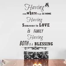 Having Home Love Blessing Wall Sticker Quote Black Monogram English Enchanting English Inspiration