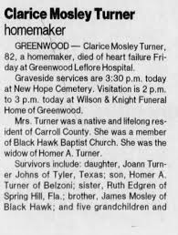Obituary for Clarice Mosley Turner (Aged 82) - Newspapers.com
