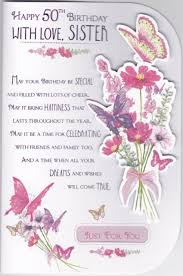 Sister 50th Birthday Card With A Butterfly And Flower Design